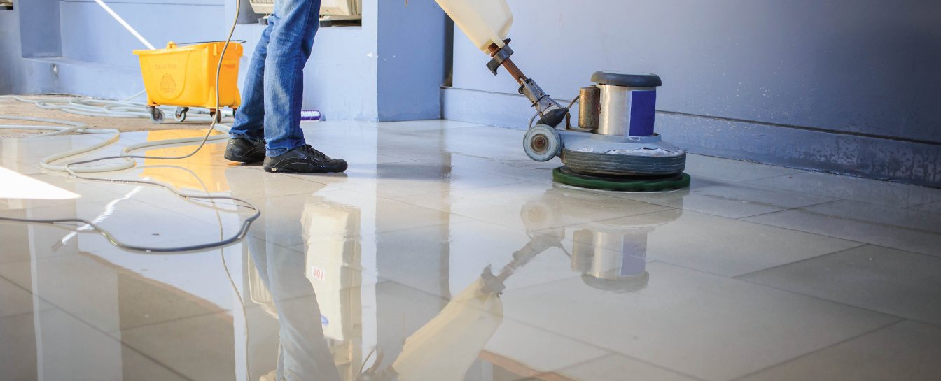 Floor cleaning or polishing
