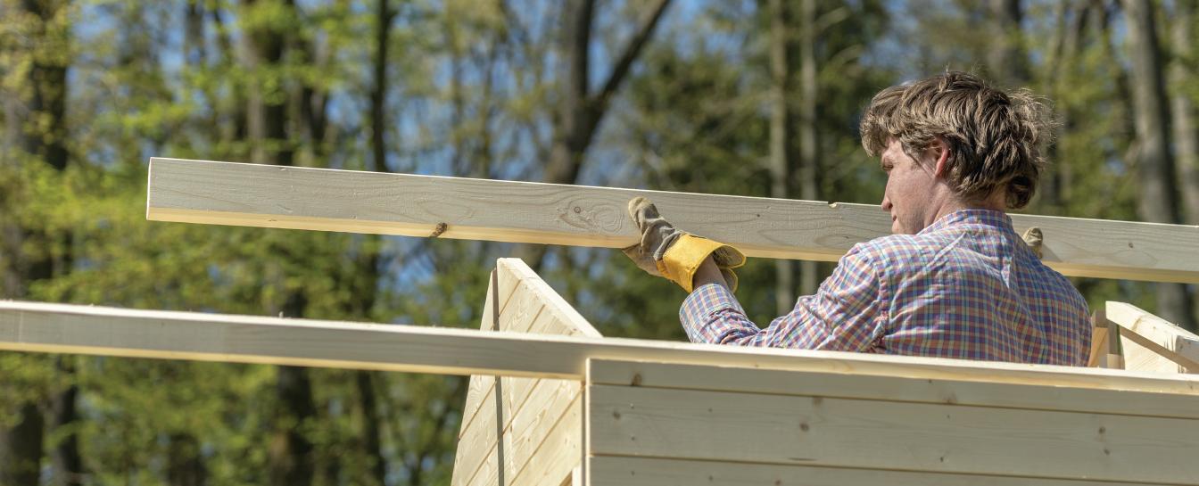 Outdoor wooden storage fabrication